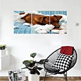Liguo88 Custom canvas Dog Lover Decor Collection Naughty Playful Troubled Puppy Dog After Biting A Cotton Pillow Tired Indoor Bedroom Living Room Wall Hanging Blue White Brown