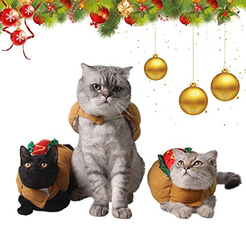 Coppthinktu Hamburger Dog Costume Burger Design Halloween Pet Cat Hot Dog Costume Fancy Dress]()