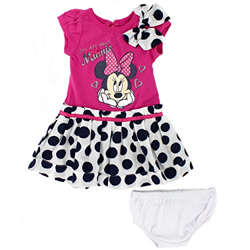 [Minnie Mouse Baby Girls Dress and Bloomers Set (12 Months, Pink/Navy Dots)] (Minnie Mouse Outfit For Babies)