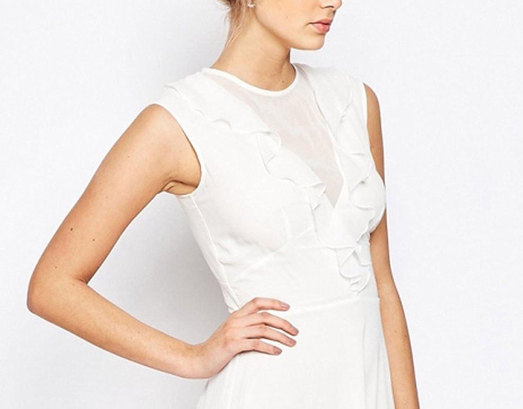 St Lamour Womens Elegant Sleeveless Crew Neck Chiffon Midi Dresses for Banquet
