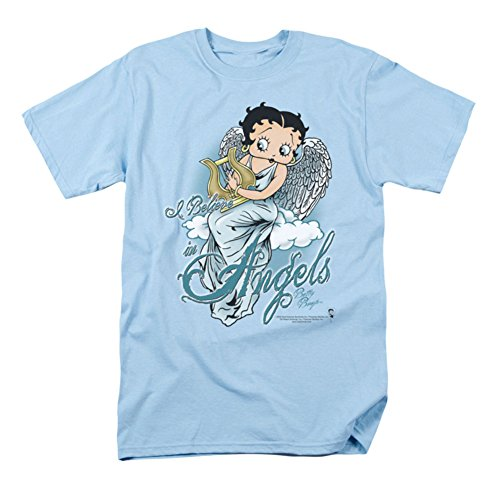 Betty Boop Men's I Believe In Angels T-shirt Blue