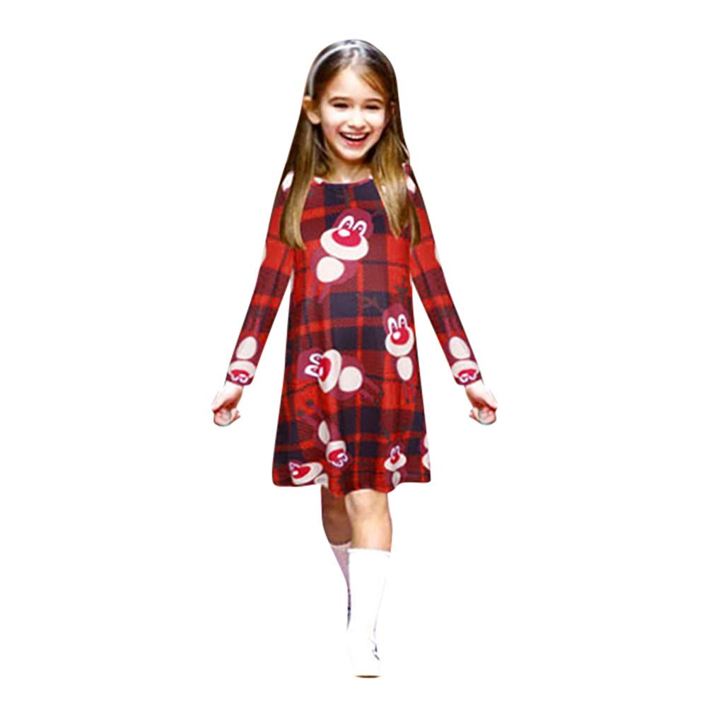 Parent-Child Clothes Christmas Lady Long Sleeve Cartoon Animal Print Dress (3-4 Years, Red)