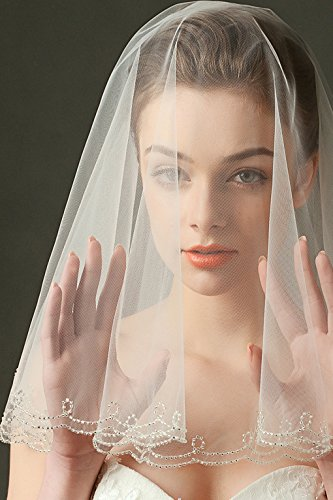 Wedding Veil Ivory 1 Tier Fingertip Length Scallop Edge with Silver Bungle Beads