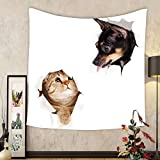 Gzhihine Custom tapestry Animal Tapestry Cat and Dog In Paper Side Torn Holes Funny Kitten and Puppy Photo Print for Bedroom Living Room Dorm White Black and Brown