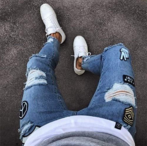 Hellblau Lucido Stile Jeans Con Pantaloni Denim Semplice Strappati Elasticizzati Lanceyy Da Skinny Uomo Cappuccio In qPpnXx6