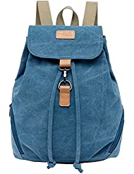 Ankena Canvas Backpack Casual Daypack for Girls&Women Drawstring Shoulder Bag Blue