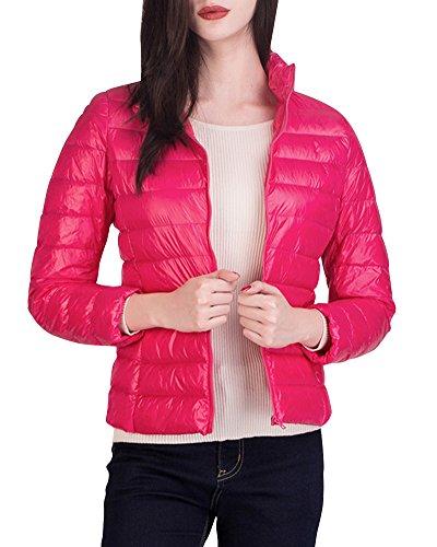 Cappotto Inverno Trapuntato Corto Piumino Donna Giacca Rosso Peach Packable Leggeri Giacche qxA1wnIBOH
