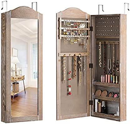 Giantex Jewelry Armoire Cabinet Wall/Door Mounted with Mirror, Rustic Full  Length Mirrored Storage Jewelry Organizer with Hooks Ring Earring Slots, ...