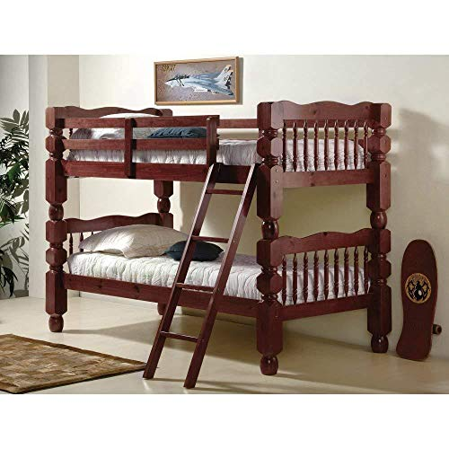 Price comparison product image DONCO Kids 1110-2-TTM_TT Jumbo Turned Post Bunk Bed, Twin, Dark Cherry