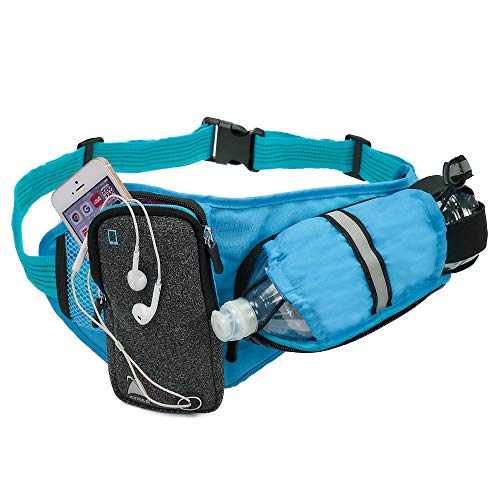 Athlé Blue Running Belt - Horizontal Water Bottle Pouch, Large Fanny Pack Pocket Fits Most Phones and Wallet, Adjustable One Size Fits All Waist Band, Key Clip, 360° Reflective