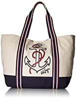 Tommy Hilfiger Bag for Women Canvas Item Tote, Natural/Navy/Red