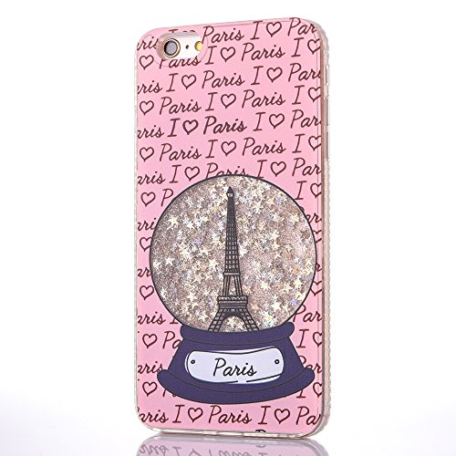 Star Protector Case (Quicksand Liquid Case for iPhone 6/6s with [Tempered Glass Screen Protector], Glitter Bling Clear Protective Cute Unique Star Flowing Liquid Cover TPU Case for iPhone 6/6s 4.7-Eiffel Tower Gold)