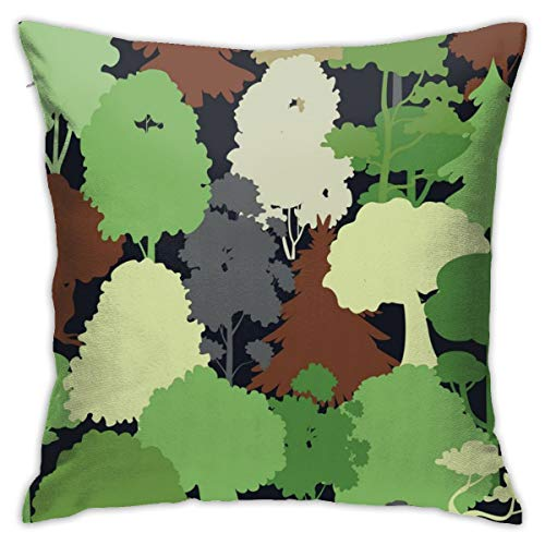 (Eratdatd Customized Deep Forest Camouflage Seamless 45 X 45 cm Pillow Cover, Sofa Bed Pillow Durable, Machine Wash Pillow Cover)