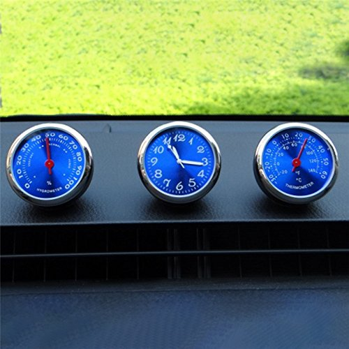 MeiBoAll Car Dashboard High Accuracy Mini Quartz Clock Mechanical Hygrometer Thermometer Humidity Meter, High and Low Temperature Resistance, Pack of 3