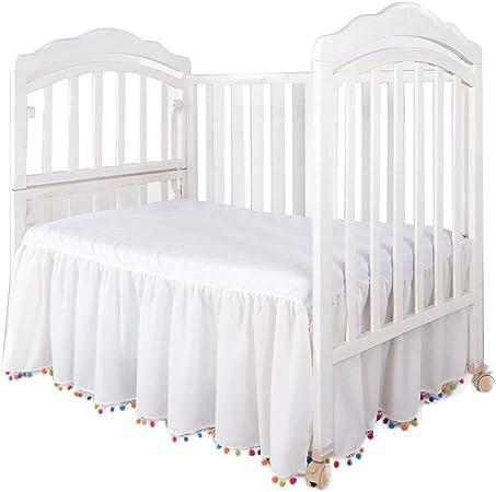 Falda blanca para cama, con borla, para guardería, cuna ...