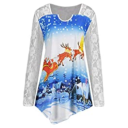 NPRADLA Blouse Womens Christmas Lace Sled Panel Santa Claus Print Crochet T-Shirt Tops