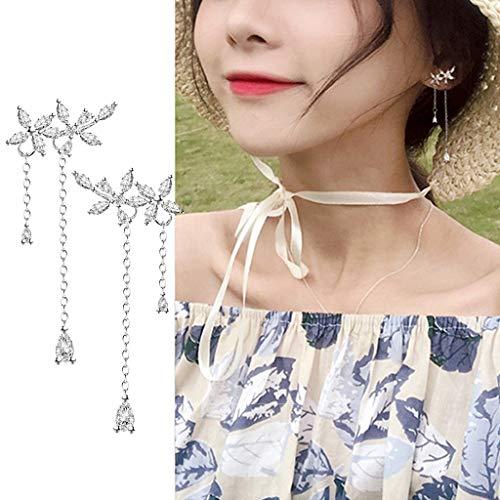 Show Silver Mosaic Quality (Ikevan Fashions Earrings Leaves Wrap Earrings Crawler for Women Dainty Flowers Tassel Chain Earrings)