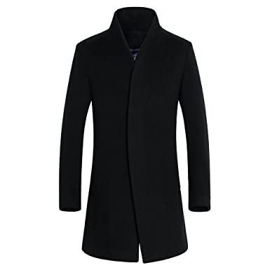 DAVID.ANN Men's Wool French Coat Slim Fit Long Jacket Overcoat at ...