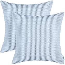 CaliTime Pack of 2 Comfy Throw Pillow Covers Cases for Couch Sofa Bed Comfortable Supersoft Corduroy Corn Striped Both Sides 18 X 18 Inches Light Blue