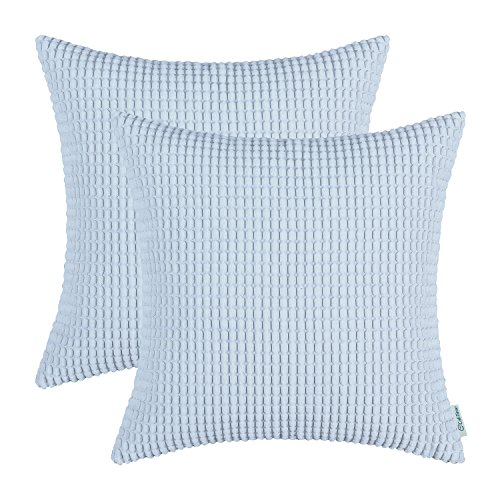 CaliTime Pack of 2 Comfy Throw Pillow Covers Cases for Couch Sofa Bed Comfortable Supersoft Corduroy Corn Striped Both Sides 18 X 18 Inches Light Blue ()