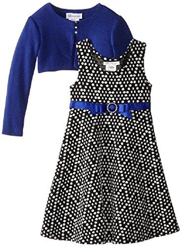 Bonnie Jean Tween Girls' Knit Diamond Jaquard Dress With Cardigan, 4