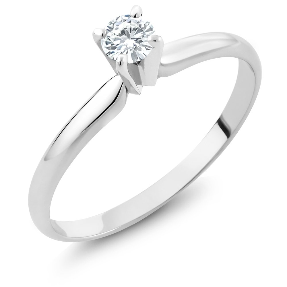 Charles & Colvard Forever Classic 4mm Round 0.23cttw DEW White Created Moissanite Engagement Promise Solitaire Ring in 14K Solid White Gold (Size 5)