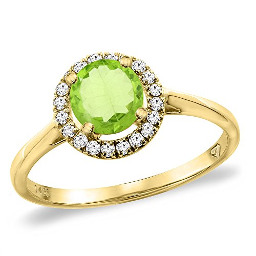 14K Yellow Gold Diamond Halo Natural Peridot Engagement Ring Round 6 mm, size 6