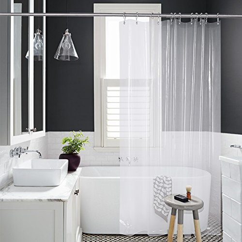 3, Amazer Shower Curtain, 72u0027 X 72u0027 Clear EVA 8G Mildew Resistant Thick  Bathroom
