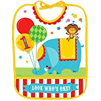 "Amscan Fisher-Price Circus 1St Birthday Vinyl Baby Bib (Pack Of 1), Multicolor, 13"" x 10"""