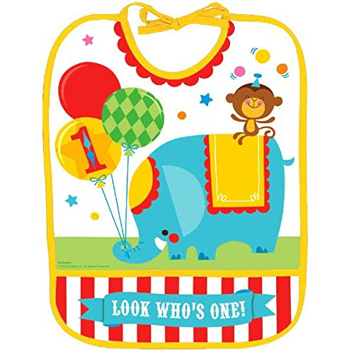 Fisher-Price Circus 1St Birthday Vinyl Baby Bib (Pack Of 1), Multicolor, 13