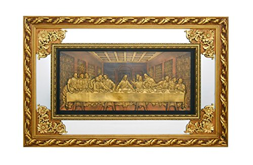 Disciples Supper Last 12 (The Last Supper - Christian Wall Hanging Ornate Gold Wood Frame with Mirror and Glass # 1348)