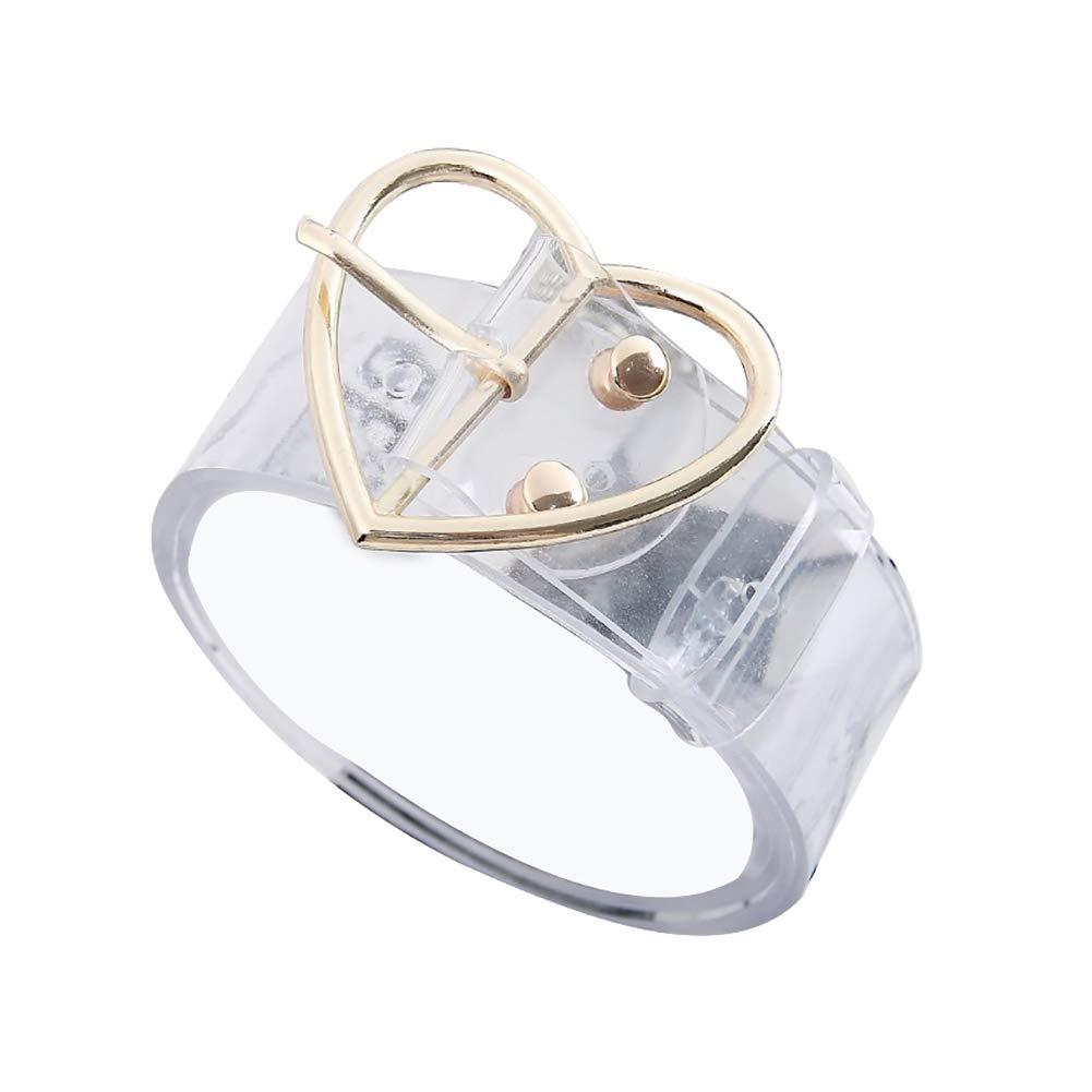 con Fibbia KaariFirefly Cintura Trasparente da Donna con Grazioso Cuore Rotondo e Quadrato per Jeans e Pantaloni Durevole
