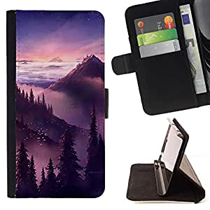 Momo Phone Case / Flip Funda de Cuero Case Cover - Puesta de sol salida del sol Montañas Árboles - Sony Xperia Style T3
