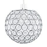 Modern Chrome Globe Ceiling Light Shade with Acrylic Crystal Effect Jewel