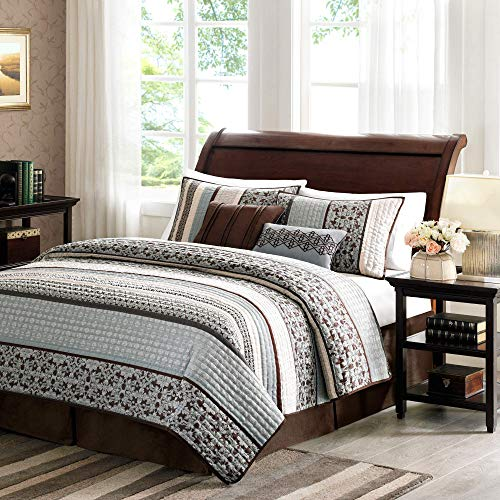Madison Park Princeton King Size Quilt Bedding Set - Teal, Jacquard Patterned Striped - 5 Piece Bedding Quilt Coverlets - Ultra Soft Microfiber Bed Quilts Quilted Coverlet (Renewed)