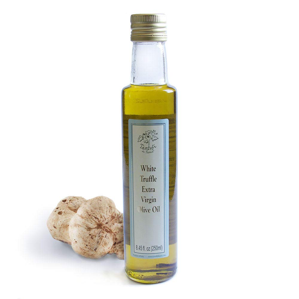 White Truffle Oil (8.45 Fluid Ounces) Cold Pressed Extra Virgin Olive Oil Base, Gourmet Dressing, Seasoning, Flavoring, Non-Gluten, Non-GMO, Vegetarian, Vegan, Keto, Kosher -- by Tartufi Di Fassia by Tartufi di Fassia