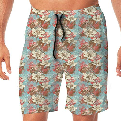 Haixia Mens Adjustable Board Short Abstract Vintage Color Scheme with Floral Ar by Haixia