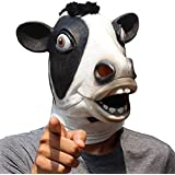 CreepyParty Deluxe Novelty Halloween Costume Party Latex Animal Mask Brown Cow