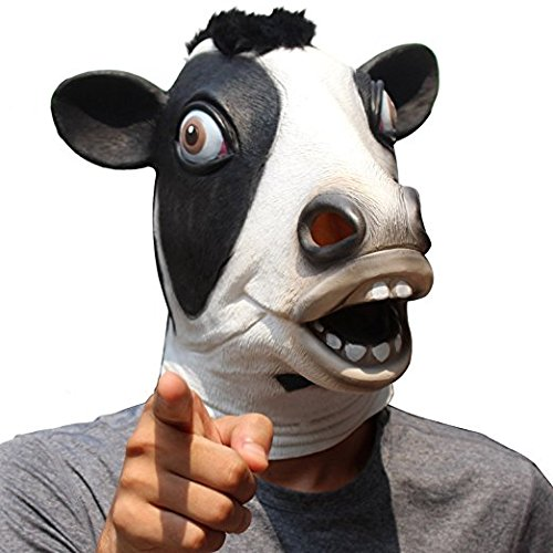 CreepyParty Novelty Halloween Costume Party Latex Cow Head Mask (Cow) Black]()