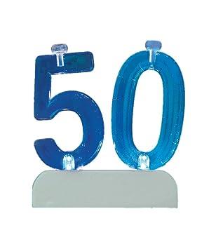 Blinkende Geburtstags-Zahl 50 mit 4 Kerzen Torten- und Kuchenkerze