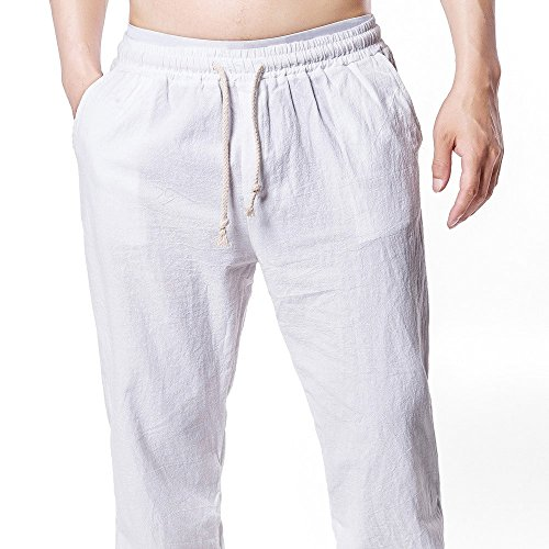 (Men's Casual Sweatpants,Clearance-Summer Fashion Solid Linen Drawstring Baggy Sport Trousers Pencil Pants with Pockets)