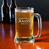 Personalized Beer Mug Groomsman Mug Engraved Mug Sandblasted Glass Beer Mug