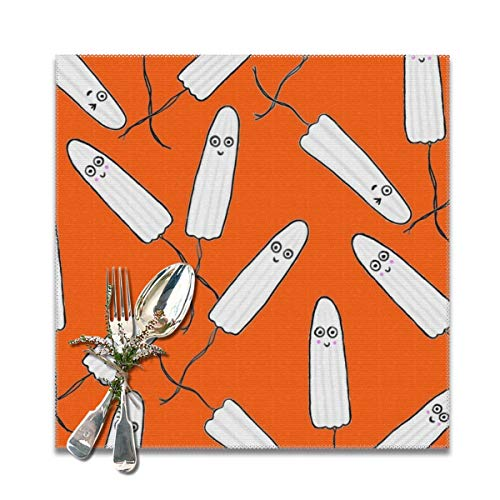 NiYoung Kitchen Placemats Heat-Resistant Stain Resistant Large Tablemats for Dining Kitchen Restaurant Table (6 Pieces, Kawaii Tampons Orange Place Mats)