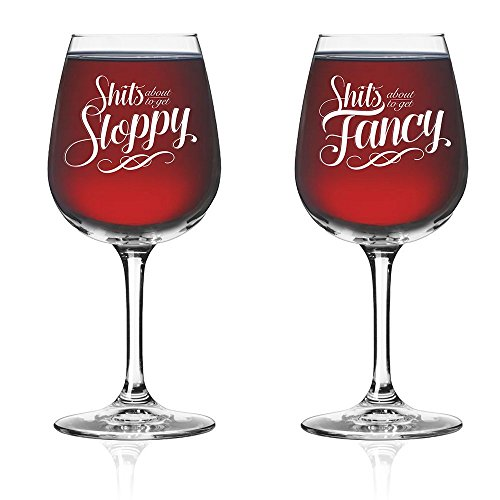 Novelty Funny Couples Wine Glass (Set of 2) - His Hers Drinkware - Newlyweds Wedding Anniversary Bridal Gift - Mr and Mrs Housewarming Birthday Glassware - Husband Wife Fancy Royalty Bachelorette Gag -