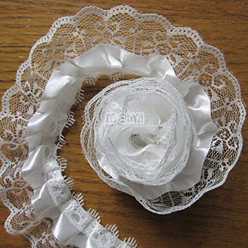 10 Yard 2-Layer Pleated Organza Lace Edge Gathered Mesh Trim Ribbon 2