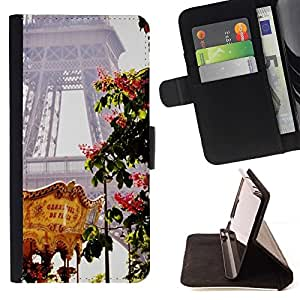 For Sony Xperia M5 E5603 E5606 E5653 Case , Torre Eifel Feria de Primavera de Francia- la tarjeta de Crédito Slots PU Funda de cuero Monedero caso cubierta de piel