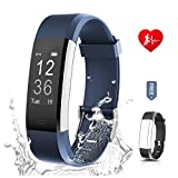 Ronten Fitness Tracker, R2 Plus Heart Rate Monitor Waterproof Activity Tracker, Bluetooth Wireless Smart Bracelet with Replacement Strap for Android and IOS Smartphones, Black Plus Blue (Band)