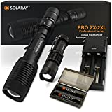 Handheld LED Emergency Flashlights – Professional Series ZX-2XL - Super Bright High Lumen Kit – 5 Light Modes, Adjustable Focus, Outdoor Water Resistant – Perfect for Camping, Hiking and Household Use