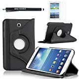 Kingsource (TM) 360 Rotating Leather Stand Case Cover for Samsung Galaxy Tab 3 7.0 SM-T210R and SM-T217S 7-Inch P3200 Tablet with 1 Screen Protector, 1 Stylus and Microfiber Digital Cleaner color black