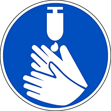 """Warnschild /""""Hände Desinfizieren/"""" selbstklebend 15 cm"""